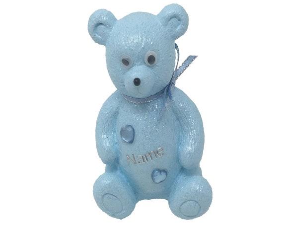 Personalised Grave Ornament Memorial Cute Baby Blue Boys Teddy Bear Graveside Outdoor Garden Cemetery Tribute
