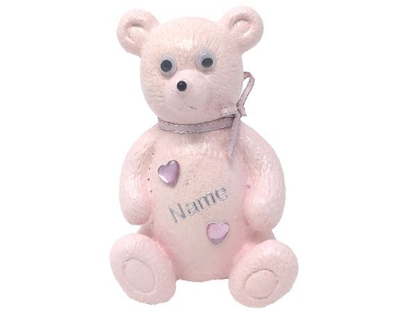 Personalised Grave Ornament Memorial Cute Girls Baby Pink Teddy Bear Graveside Outdoor Garden Cemetery Tribute