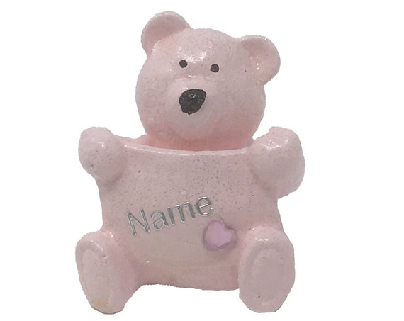 Personalised Grave Memorial Ornament Tiny Teddy Bear Girls Pink Plaque Graveside Outdoor Garden Cemetery Tribute