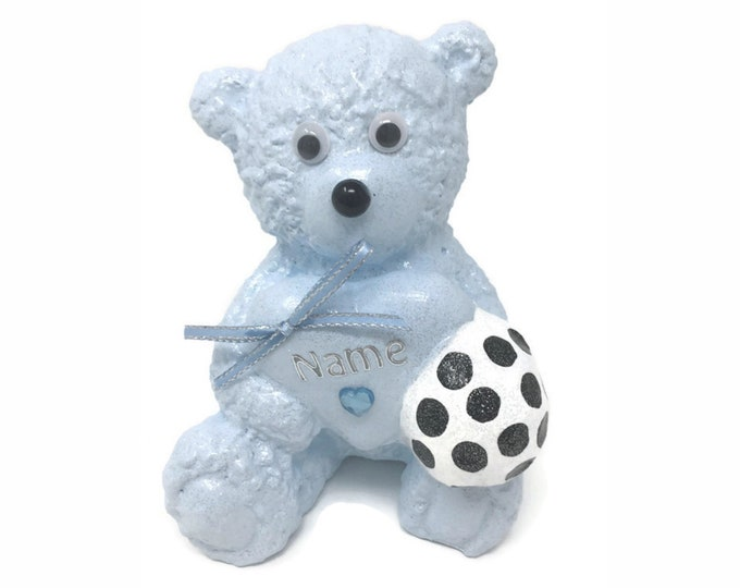 Personalised Grave Ornament Memorial Football Baby Blue Teddy Bear Boys Fathers Day Garden Graveside Outdoor Garden Cemetery Tribute