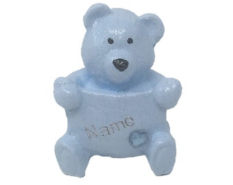 Personalised Grave Memorial Ornament Tiny Teddy Bear Boys Blue Plaque Graveside Outdoor Garden Cemetery Tribute