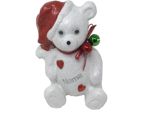 Personalised Grave Ornament Memorial Christmas Santa Teddy Bear Plaque Graveside Outdoor Garden Cemetery Tribute