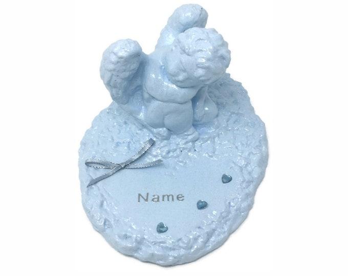 Personalised Grave Memorial Ornament Angel Baby Blue Cherub Plaque Boys Birthday Garden Graveside Outdoor Garden Cemetery Tribute
