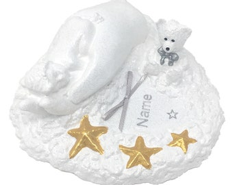 Personalised Grave Memorial Ornament Baby Teddy Bear In Hand Tear Drop Star Tribute Plaque