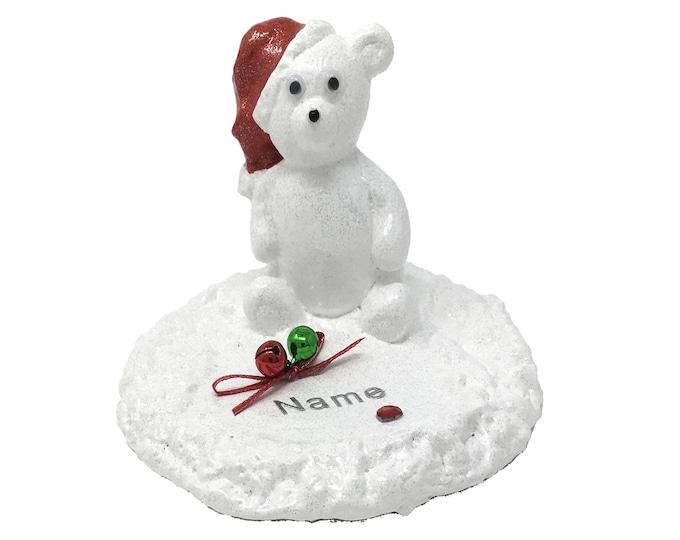 Personalised Christmas Grave Memorial Ornament Baby Santa Teddy Bear Plaque Graveside Outdoor Garden Cemetery Tribute