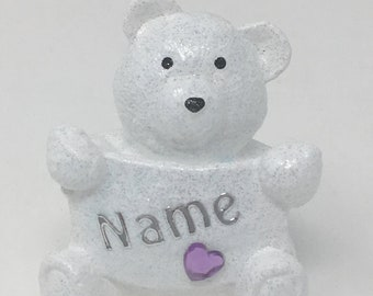 Personalised Grave Memorial Ornament Tiny Teddy Bear Baby Boys Girls Lilac Theme Plaque Christmas Birthday Outdoor Garden Cemetery Tribute
