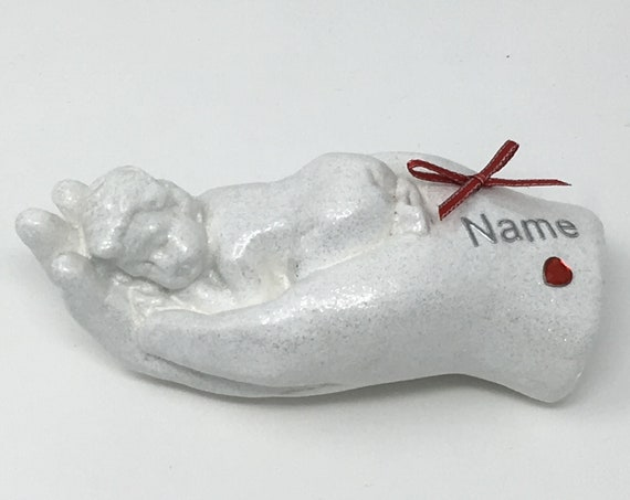 Personalised Baby Sleeping In Hand White Grave Memorial Ornament Red Theme Garden Graveside Outdoor Cemetery Tribute