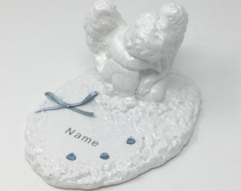 Personalised Grave Memorial Ornament Angel Cherub Plaque Blue Theme Graveside Outdoor Baby Garden Cemetery Tribute