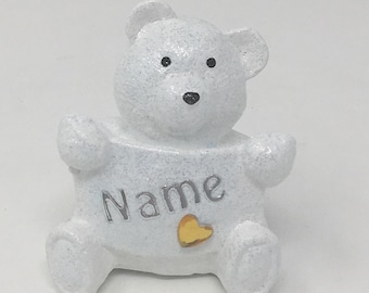 Personalised Grave Memorial Ornament Tiny Teddy Bear Baby Boys Girls Gold Theme Plaque Christmas Birthday Outdoor Garden Cemetery Tribute