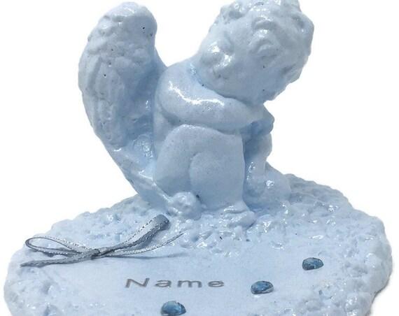 Personalised Grave Memorial Ornament Angel Baby Blue Cherub Plaque Garden Graveside Outdoor Garden Cemetery Tribute