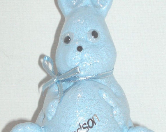 Personalised Grave Ornament Memorial Baby Blue Easter Bunny Rabbit Boys Garden Graveside Outdoor Garden Cemetery Tribute