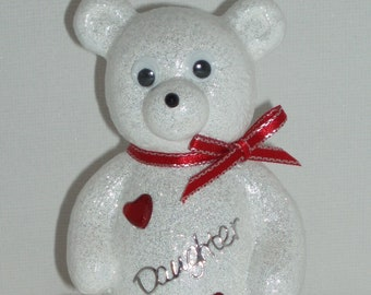 Personalised Grave Ornament Memorial Cute White Baby Girls Boys Teddy Bear Red Theme Graveside Outdoor Garden Cemetery Tribute