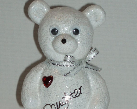 Personalised Grave Ornament Memorial Cute White Baby Girls Boys Teddy Bear White & Red Theme Graveside Outdoor Garden Cemetery Tribute