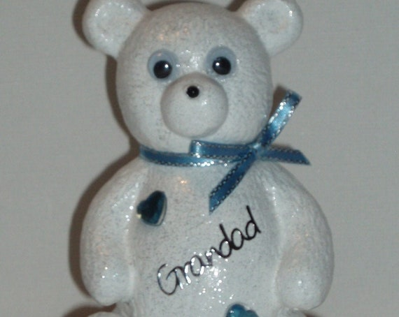 Personalised Grave Ornament Memorial Cute White Baby Boys Teddy Bear Graveside Outdoor Garden Cemetery Tribute
