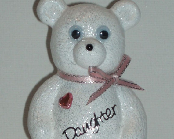 Personalised Grave Ornament Memorial Cute White Baby Girls Teddy Bear Pink Theme Graveside Outdoor Garden Cemetery Tribute