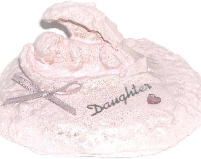 Personalised Grave Memorial Ornament Angel Baby Pink Cherub Sleeping In Wings Plaque Garden Graveside Outdoor Garden Cemetery Tribute