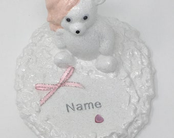 Personalised Grave Memorial Ornament Teddy Bear Girls White Plaque Pink Theme Graveside Outdoor Garden Cemetery Tribute
