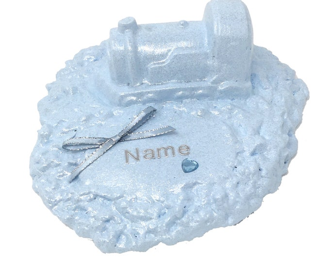 Personalised Grave Memorial Ornament Train Baby Blue Boys Garden Graveside Outdoor Cemetery Tribute Plaque