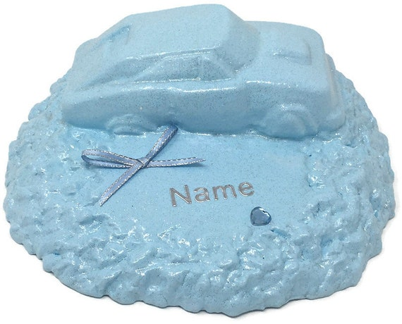 Personalised Grave Memorial Ornament Sports Car Baby Blue Boys Garden Graveside Outdoor Cemetery Tribute Plaque