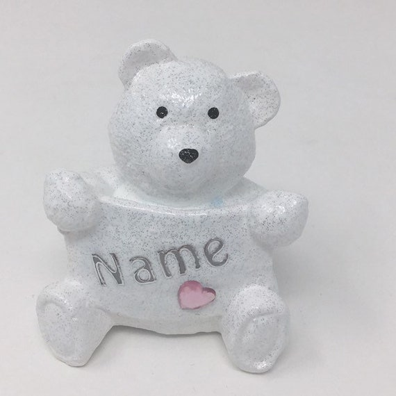 Personalised Grave Memorial Ornament Tiny Teddy Bear Baby Girls Pink Theme Plaque Graveside Outdoor Garden Cemetery Tribute