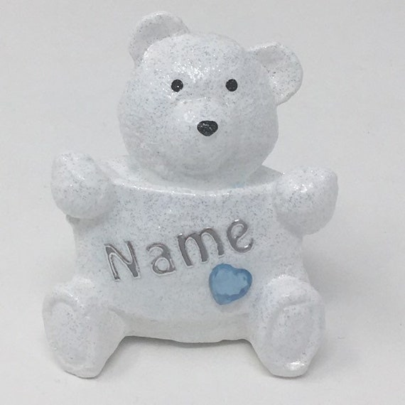 Personalised Grave Memorial Ornament Tiny Teddy Bear Baby Boys Blue Theme Plaque Graveside Outdoor Garden Cemetery Tribute