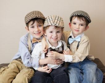 Ring bearer, Boys accessories, Bow tie set, Boys suspenders, Kids newsboy hat, Drivers Cap, Boys braces, Kids bow tie, 3-7 years old