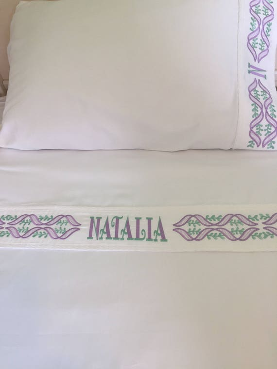 Personalized Ribbon Border Sheet Set Linen Bedding Set Girls Etsy
