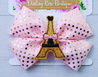 Paris Eiffel Tower hair bow Baby Headband Black Pink Dot French Poodle Hairbow