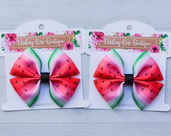 Watermelon pigtail hair bows  red black and green watermelon summer  hair bow hairbow or headband or mini pigtail set of 2