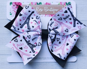 """Ready to ship! Large 4"""" pink and black Paris Eiffel Tower hair bow hairbow or headband - France party - Paris birthday"""