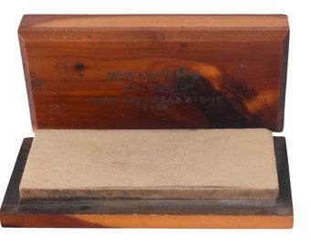 Vintage Buck Knives Sharpening Stone Orig Cedar Box, Buck Knives Hard Arkansas #135 Sharpening Stone
