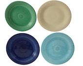 Vintage Fiesta Ware Dinner Plates X4 Old Ivory Cream Cobalt Blue Turquoise Light Green 1936-51