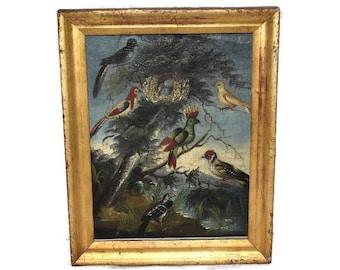 Antique Oil Painting Colorful Birds 19th Century Folk Art Gilt Frame