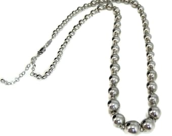 Classic Silver Beads Necklace, Sterling Beads Adjustable Length 17-19 inch