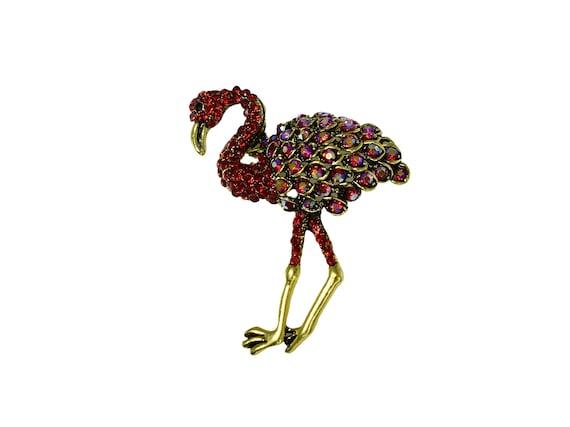 Dazzling Red Flamingo Rhinestone Brooch, Red AB Rh