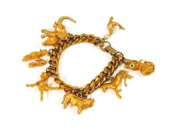 Chunky Vintage Charm Bracelet,  Rich Gold Tone Bra