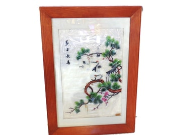 Chinese Silk Embroidery Framed Cranes Florals Vintage