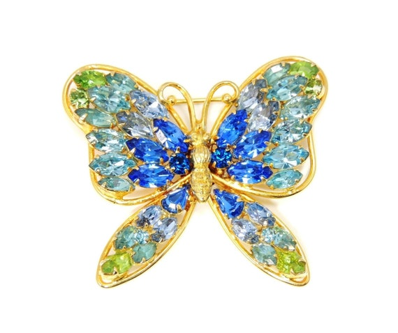 Napier Blues Greens Rhinestone Butterfly, Big Butt