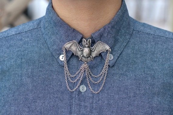 Bat Collar Pin/ Tie Pin   Silver, Bronze, Or Gold by Etsy