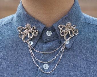 Silver Octopus Collar/ Cardigan Clip