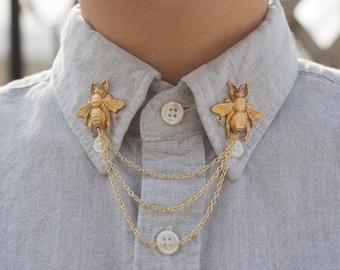 Gold Bee Collar Chain/ Cardigan Clip