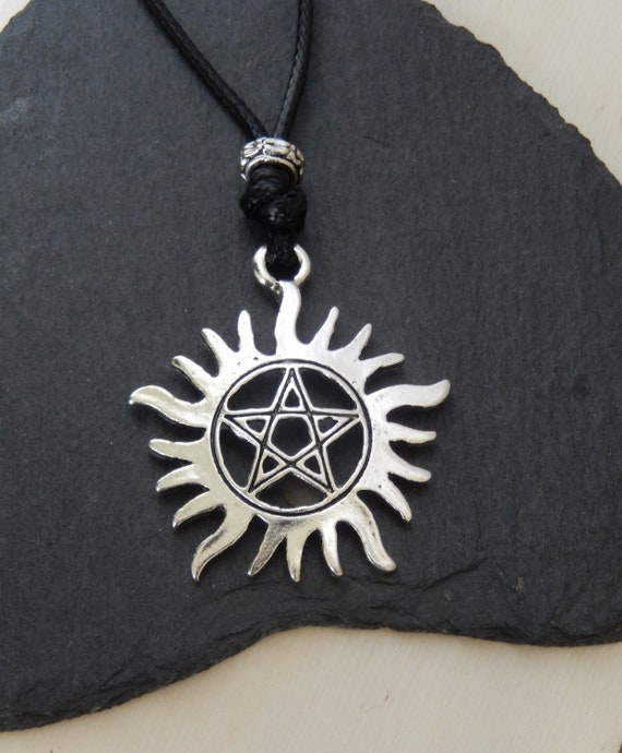 Silver Tribal Mask Amulet Dean Supernatural Black Necklace//Choker UK Gothic