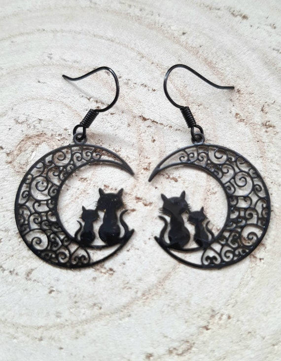 Goth Necklace or Bracelet Dangle Drop Filigree Moon Charm Handmade Earrings Halloween Dark Small Business Seller