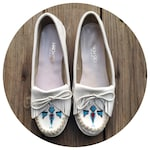80s white leather Brazilian made moccasins, size US 9