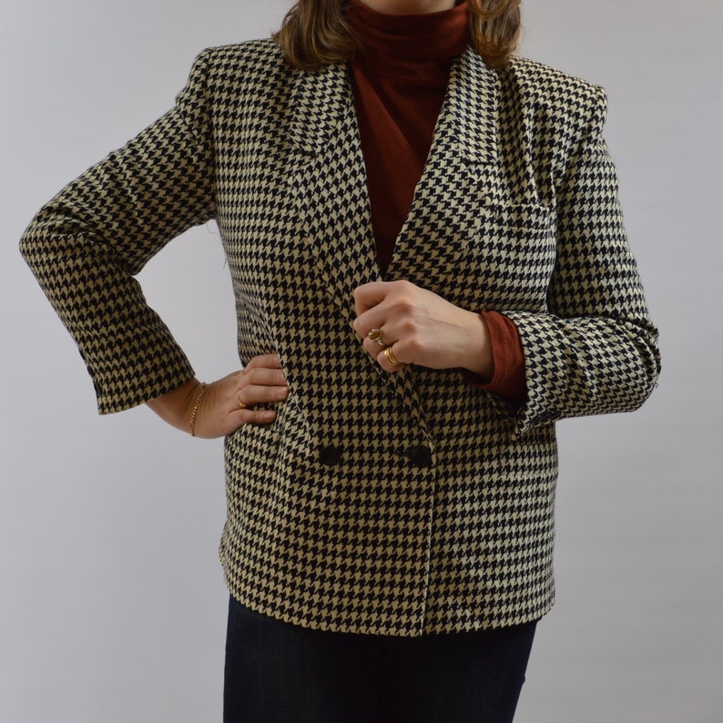 Christian Dior 80s houndstooth wool blazer size 16 image 0