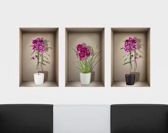 3D Nische Wand Aufkleber Orchideen für Wohnzimmer   Etsy