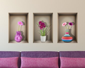 3D niche wall decal FLOWER VASES for living | Etsy on us metalcraft vases, niche flower holders, cemetery vases, floral vases, niche wall art, graveside vases, bud vases,