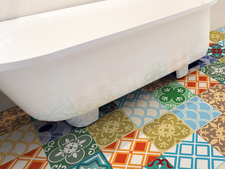 Floor Tile Decals Set Of 15 With Moroccan Decor Floor Decal Etsy