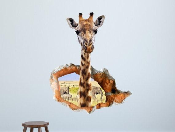 3d Aufkleber Lustige Wandaufkleber Mit Neugierigen Giraffe Etsy