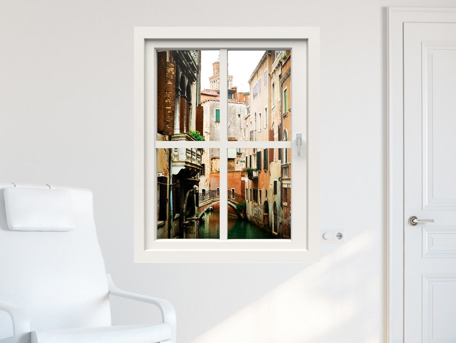 3d Window Wall Decal Window To Venice Wall Stickers For Etsy